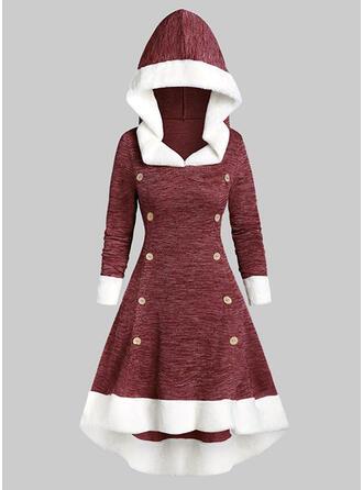 カラーブロック 長袖 Aラインワンピース スケーター クリスマスドレス/カジュアル ミディ ドレス