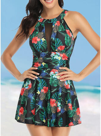 Floral Print Round Neck High Neck Elegant Fashionable Swimdresses Swimsuits