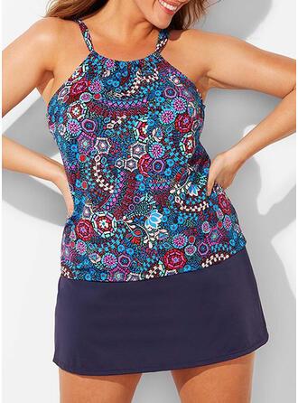 Tisk Popruh Elegantní Vinobraní Plus velikost Tankiny Plavky