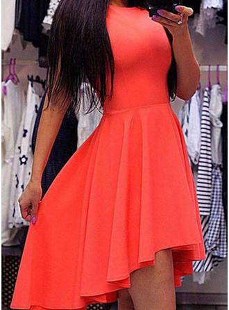 Solid Sleeveless A-line Asymmetrical Vintage Dresses