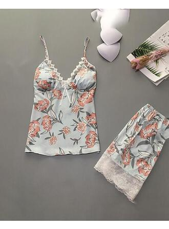 Strap Sleeveless Floral Fashionable Pajamas Sets Cami & Short Sets