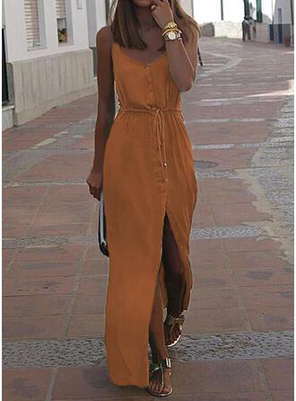 Jednolita Bez rękawów W kształcie litery A Casual/Wakacyjna Maxi Sukienki