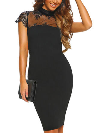 Lace/Solid Short Sleeves Bodycon Knee Length Little Black/Party Dresses