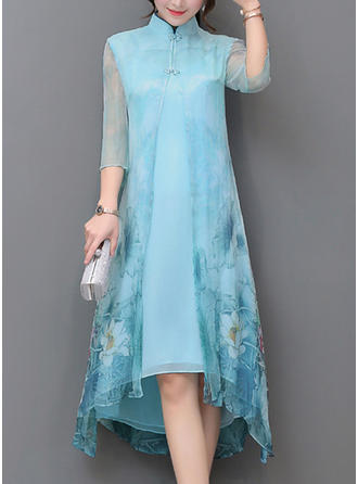 Print/Floral 1/2 Sleeves Shift Asymmetrical Casual/Elegant Dresses
