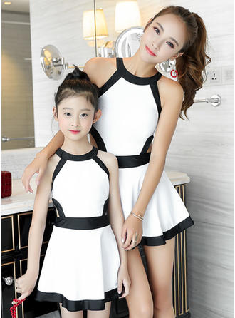 Mommy and Me Color-block Matching Swimsuit