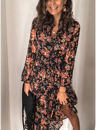 Print/Floral Long Sleeves Shift Midi Casual Dresses