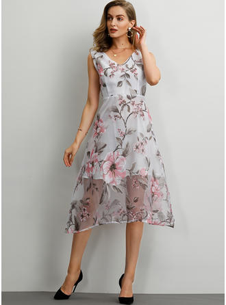 Print/Floral Sleeveless A-line Midi Casual/Elegant Dresses