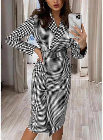 Print Long Sleeves Sheath Knee Length Elegant Dresses