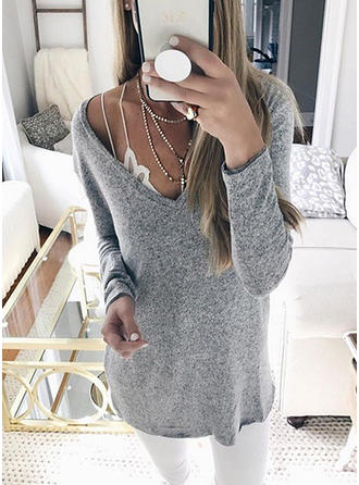 Mieszanki bawełniane V-neck Jednolity kolor Swetry