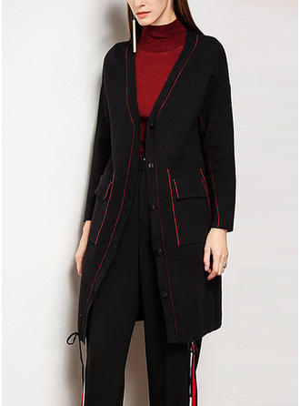 Knitting Long Sleeves Plain Cardigans