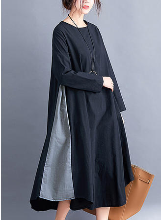 Color-block Long Sleeves Shift Maxi Casual Dresses