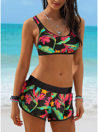 Tropical Print Strap Sexy Bikinis Swimsuits