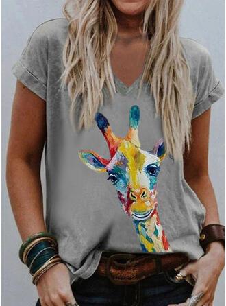 Dyr Ut V-hals Kortermer T-skjorter