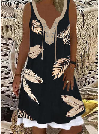 Print/Lace-up Sleeveless Shift Knee Length Casual Tank Dresses