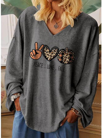 Print Leopard Heart V-Neck Long Sleeves Casual Halloween T-shirts