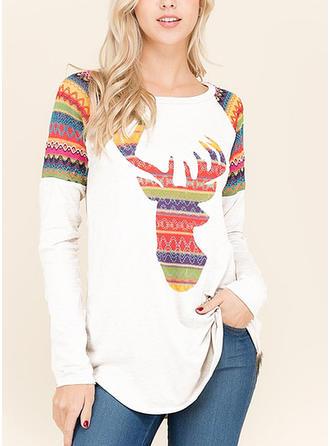Women's Polyester Print Patchwork Santa Reindeer Christmas Sweatshirt