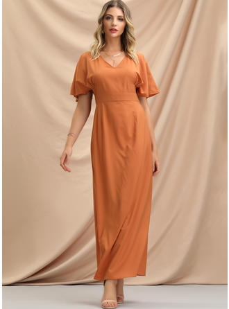 Solid Short Sleeves A-line Maxi Casual/Elegant Dresses