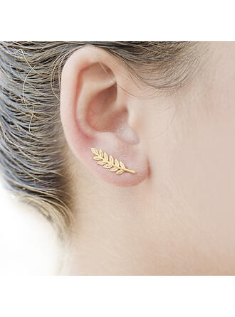 Simple Leaves Shaped Alloy Earrings (Set of 2)
