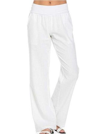 Taschen Shirred Lange Lässige Kleidung Elegant Einfarbig Einfach Hosen