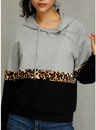 Polyester Color Block Animal Print Hoodie
