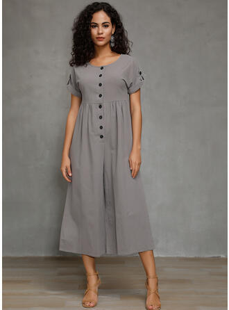 Solid Short Sleeves Midi Casual Dresses