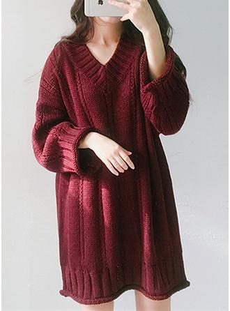 Mélange de coton V-neck Couleur unie gros tricot Robe Pull