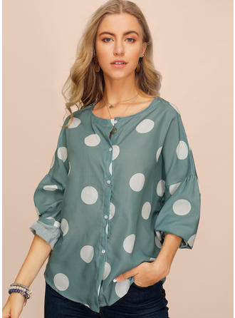 Polkadot V-hals Lange ermer Button up Casual Elegant Bluser