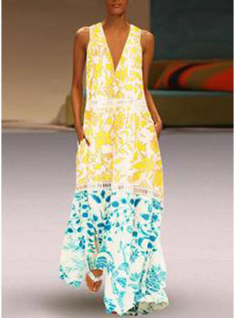 Print Sleeveless Shift Maxi Casual/Vacation Dresses