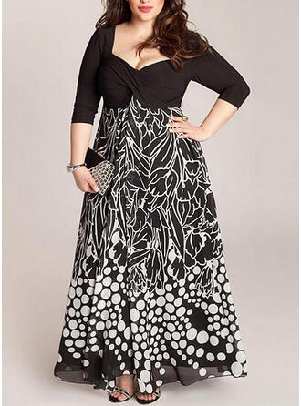 Print/PolkaDot 3/4 Sleeves A-line Party/Plus Size Maxi Dresses