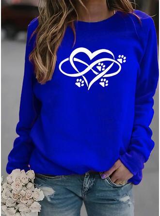 Dyr Hjerte rund hals Lange ærmer Sweatshirts