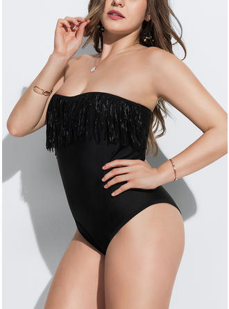 Solid Color Strapless Sexy One-piece Swimsuits
