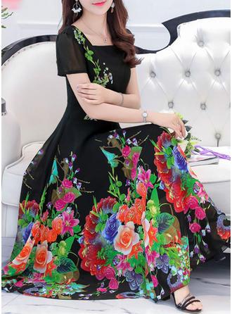 Chiffon With Stitching/Print Maxi Dress