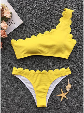Solid Color One-Shoulder Sexy Cute Bikinis Swimsuits