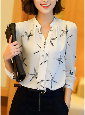 Chiffon V Neck Print Long Sleeves Button Up Blouses