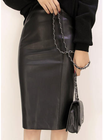 Leather/PU Plain Knee Length Pencil Skirts
