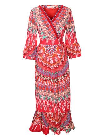 Floral V-neck Midi Sheath Dress