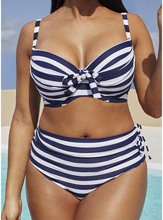 Stripe High Waist Push Up Strap Sexy Plus Size Bikinis Swimsuits
