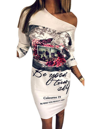 Print 3/4 Sleeves Bodycon Knee Length Dresses