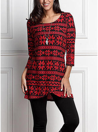 Polyester Round Neck Print 3/4 Sleeves Casual Blouses