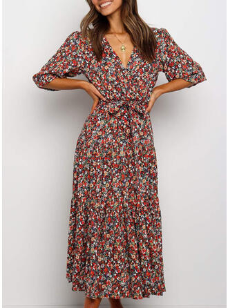 Floral 1/2 Sleeves A-line Casual/Vacation Midi Dresses