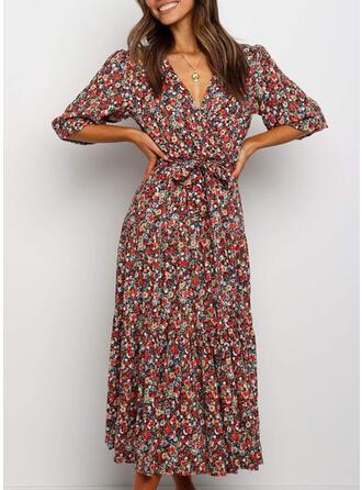 Kwiatowy Rękawy 1/2 W kształcie litery A Casual/Wakacyjna Midi Sukienki