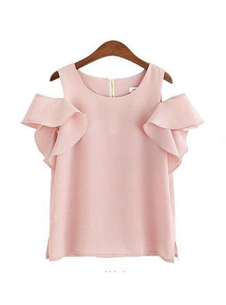 Chiffon Round Neck Cold Shoulder Plain Short Sleeves Casual Blouses