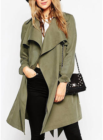 Polyester Long Sleeves Plain Trench Coats