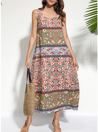 Print/Floral Sleeveless Shift Tank Casual/Boho/Vacation Midi Dresses