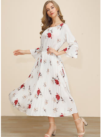 Print/Floral 3/4 Sleeves/Flare Sleeves A-line Midi Casual/Elegant Dresses