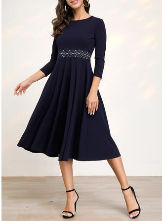 Solid 3/4 Sleeves A-line Knee Length Casual/Elegant Dresses