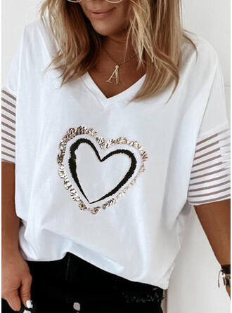Heart Print Cotton Sequins V-Neck 1/2 Sleeves T-shirts