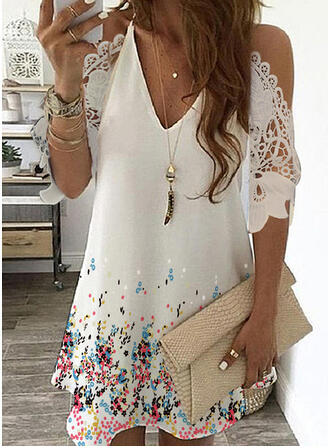 Lace/Print/Floral 3/4 Sleeves/Cold Shoulder Sleeve Shift Above Knee Casual Dresses