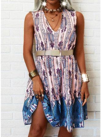 Print Sleeveless A-line Above Knee Casual/Boho Skater Dresses