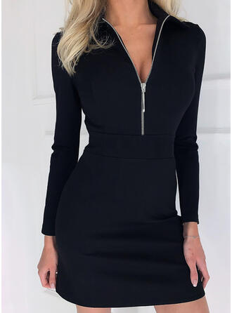 Solid Long Sleeves Sheath Above Knee Little Black/Elegant Dresses